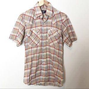 Vintage Levis Mens Plaid Pearl Snap Western Shirt